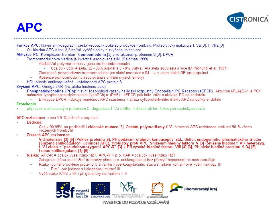 APC Funkce APC: hlavní antikoagulační cesta vedoucí k pokelsu produkce trombinu. Proteolyticky inaktivuje f. Va [3], f. VIIIa [3]
